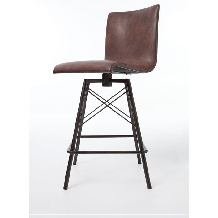 Four Hands Irondale Diaw Barstool with Havana Leather Finish - Item Number: CIRD-D9E1-E3
