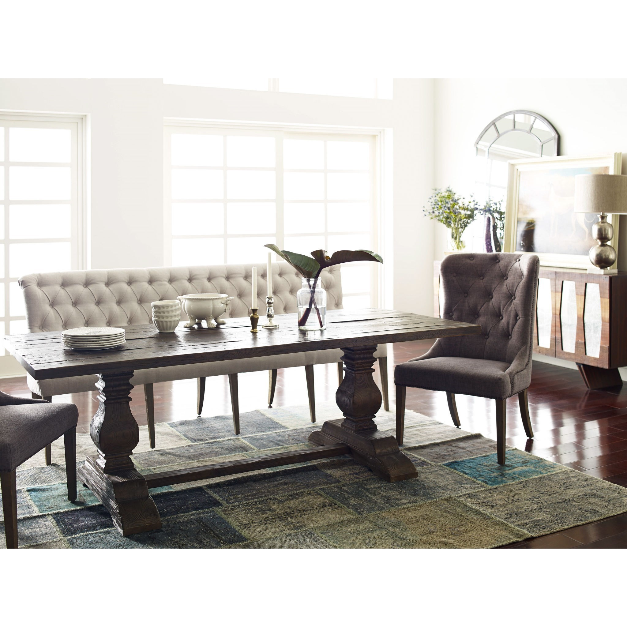 Andrea French Country Tufted Sand Long Dining Bench Banquette: Four Hands Kensington CBBS Eloise Dining Chair With