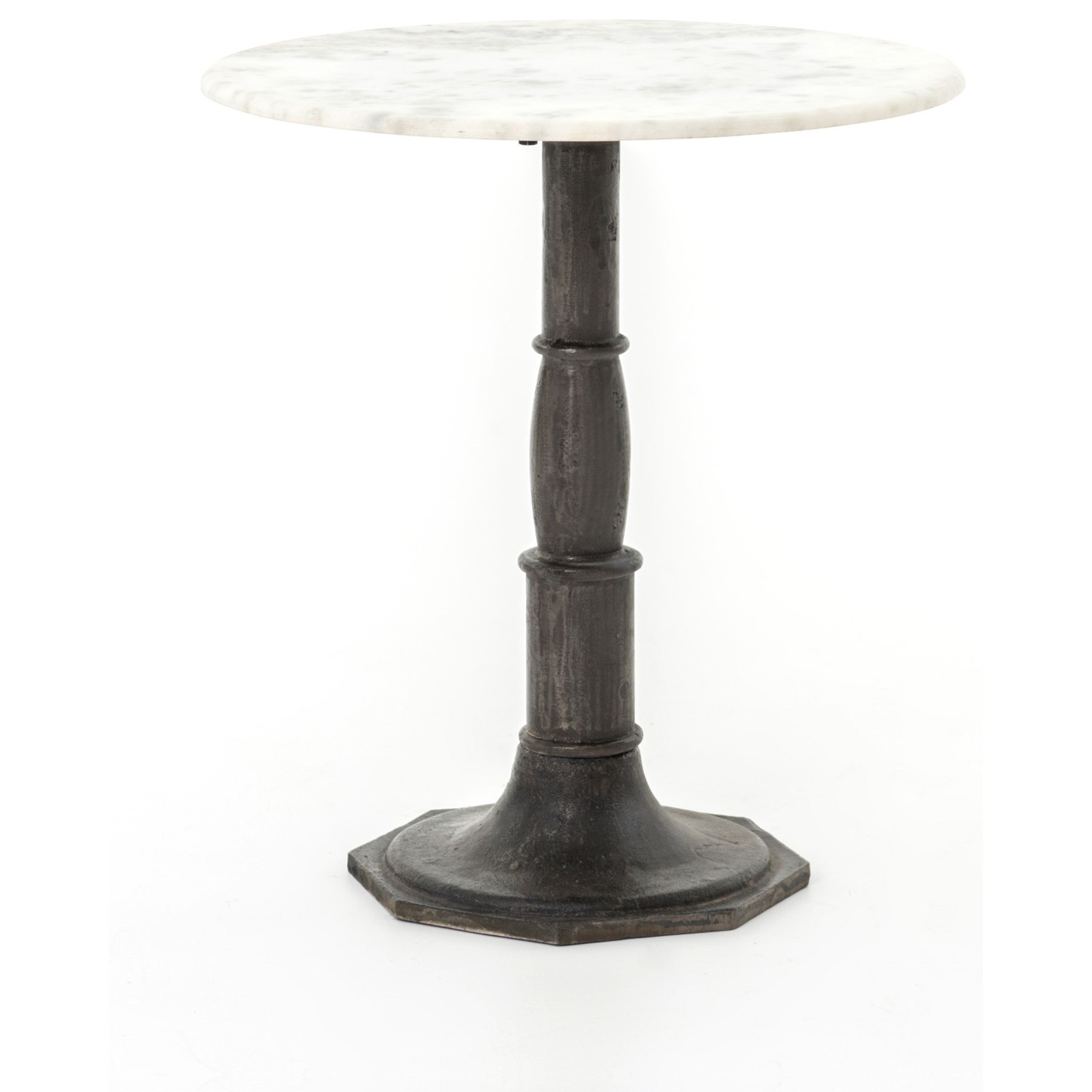 Four Hands Rockwell Lucy Side Table-Carbon Wash, Marble Top - Item Number: IRCK-048-CBW