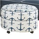 Four Seasons Furniture Alexandria Casual Ottoman - Item Number: Round Ottoman-AhoyNavy