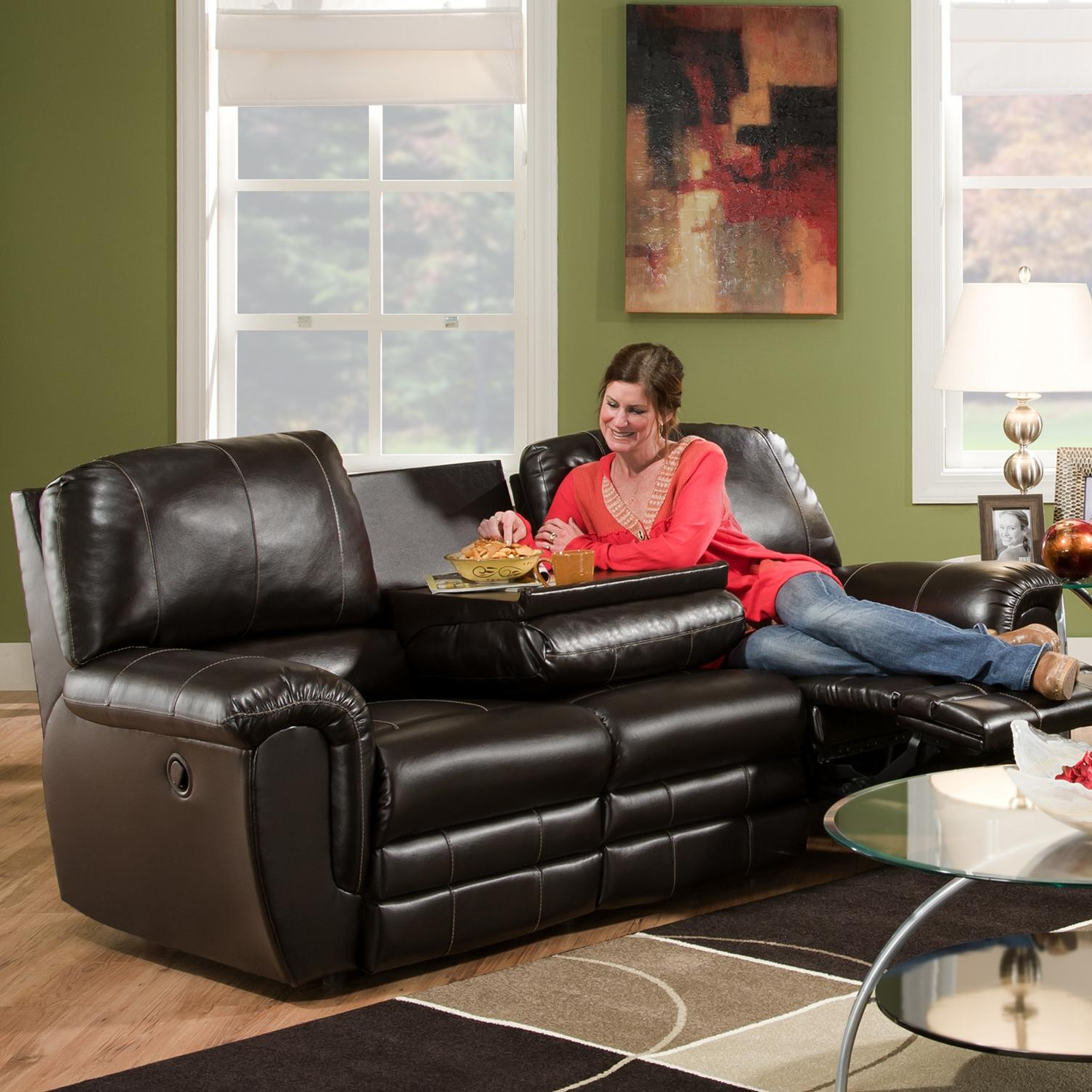 Franklin 463 Casual Double Reclining Sofa With Drop Down Console  ~ Dual Reclining Sofa With Drop Down Table