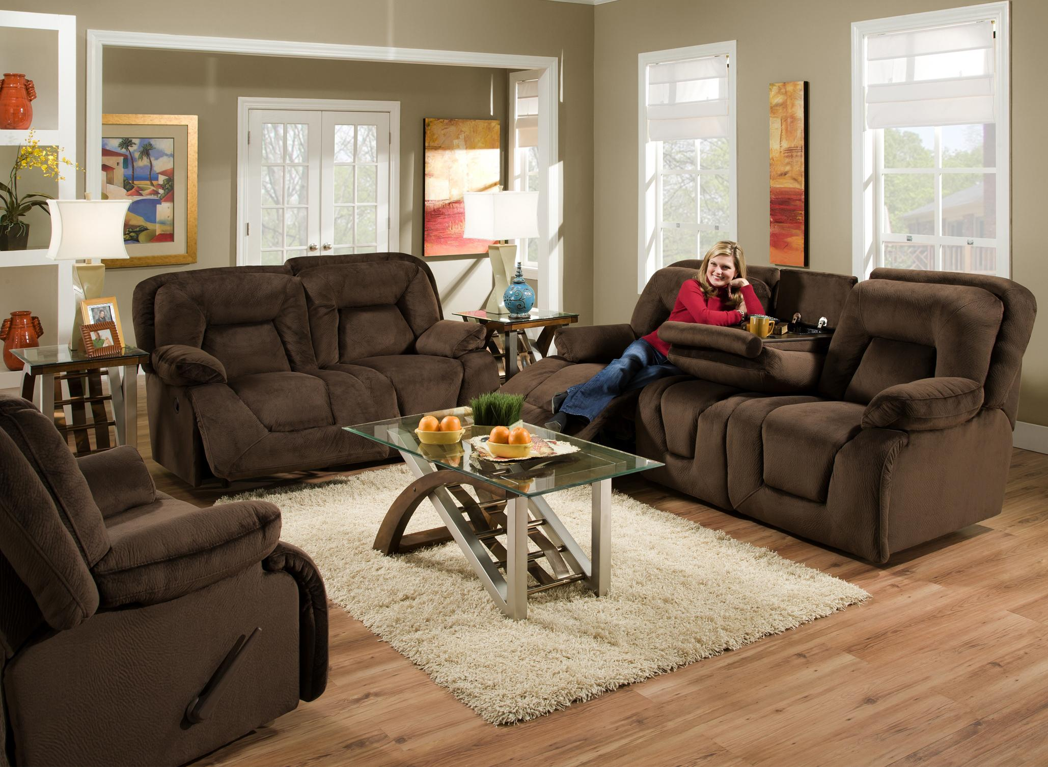 Franklin 473 Power Double Reclining Sofa With Drop Down