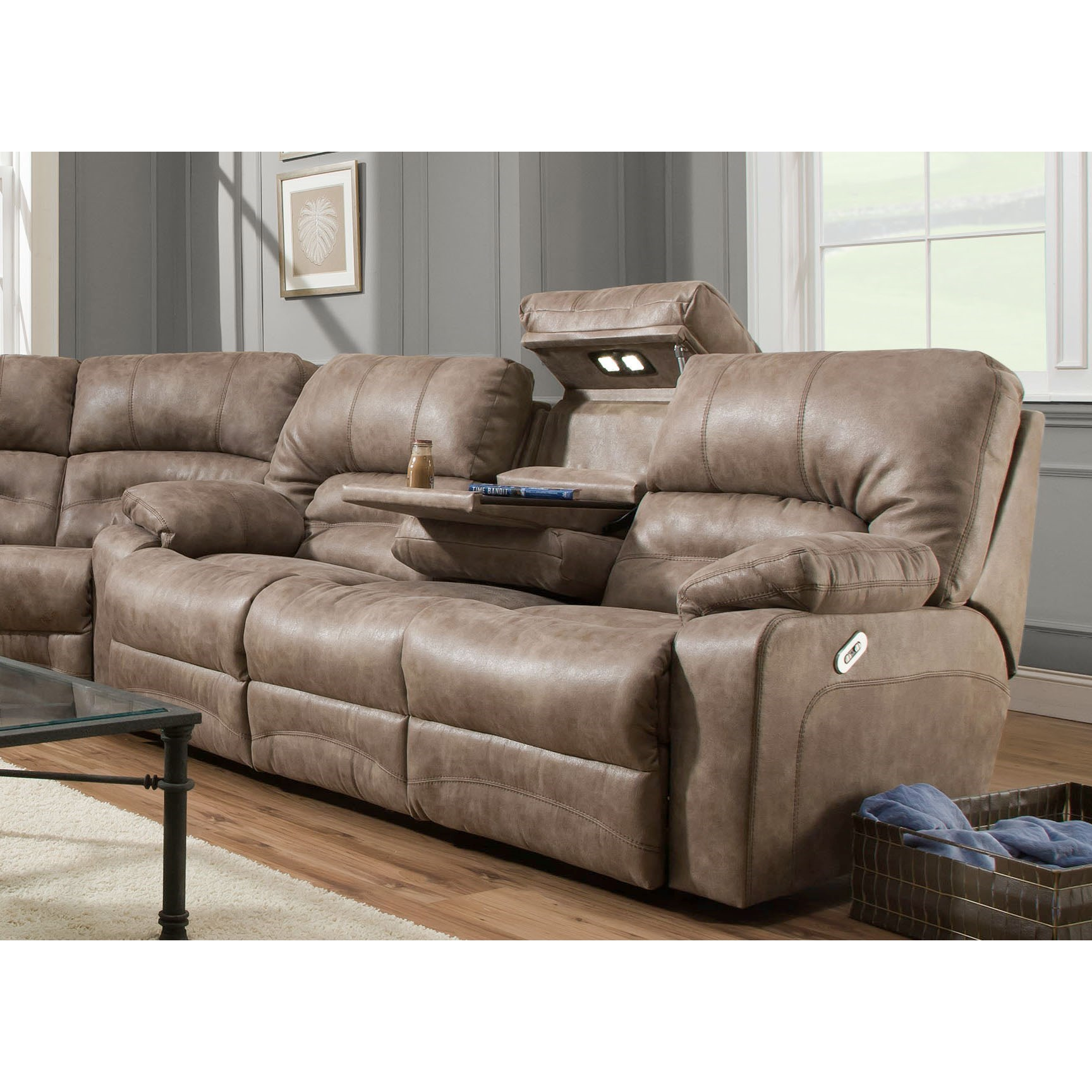 Legacy Reclining Sofa with Table and Lights by Franklin at Catalog Outlet