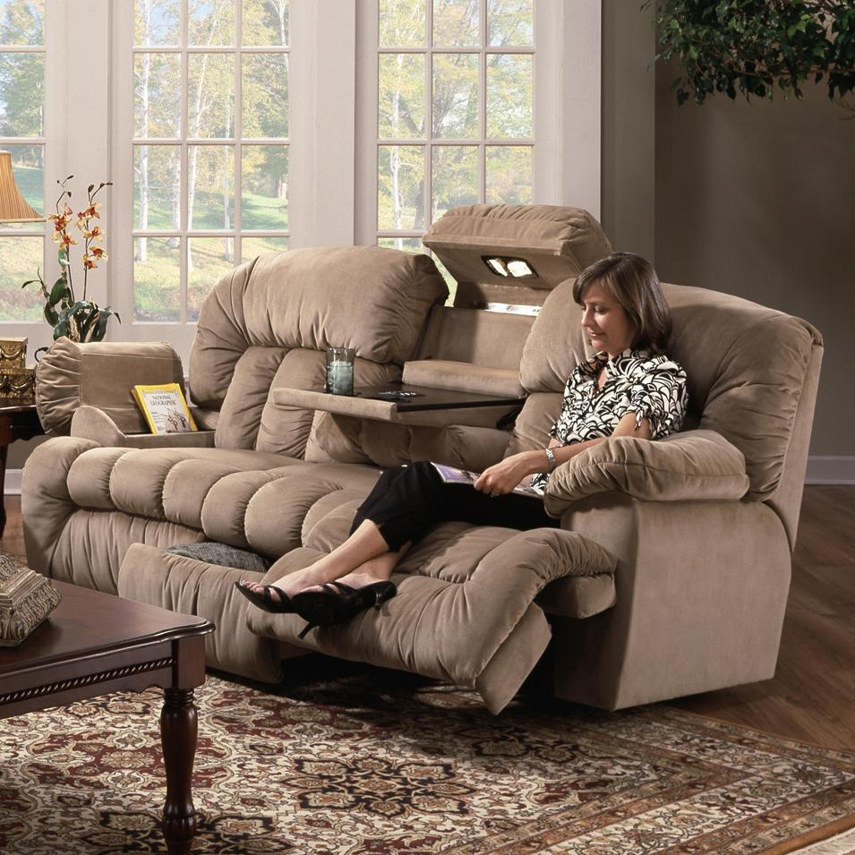 Franklin 524 Casual Reclining Sofa With Built In Storage And Lighting