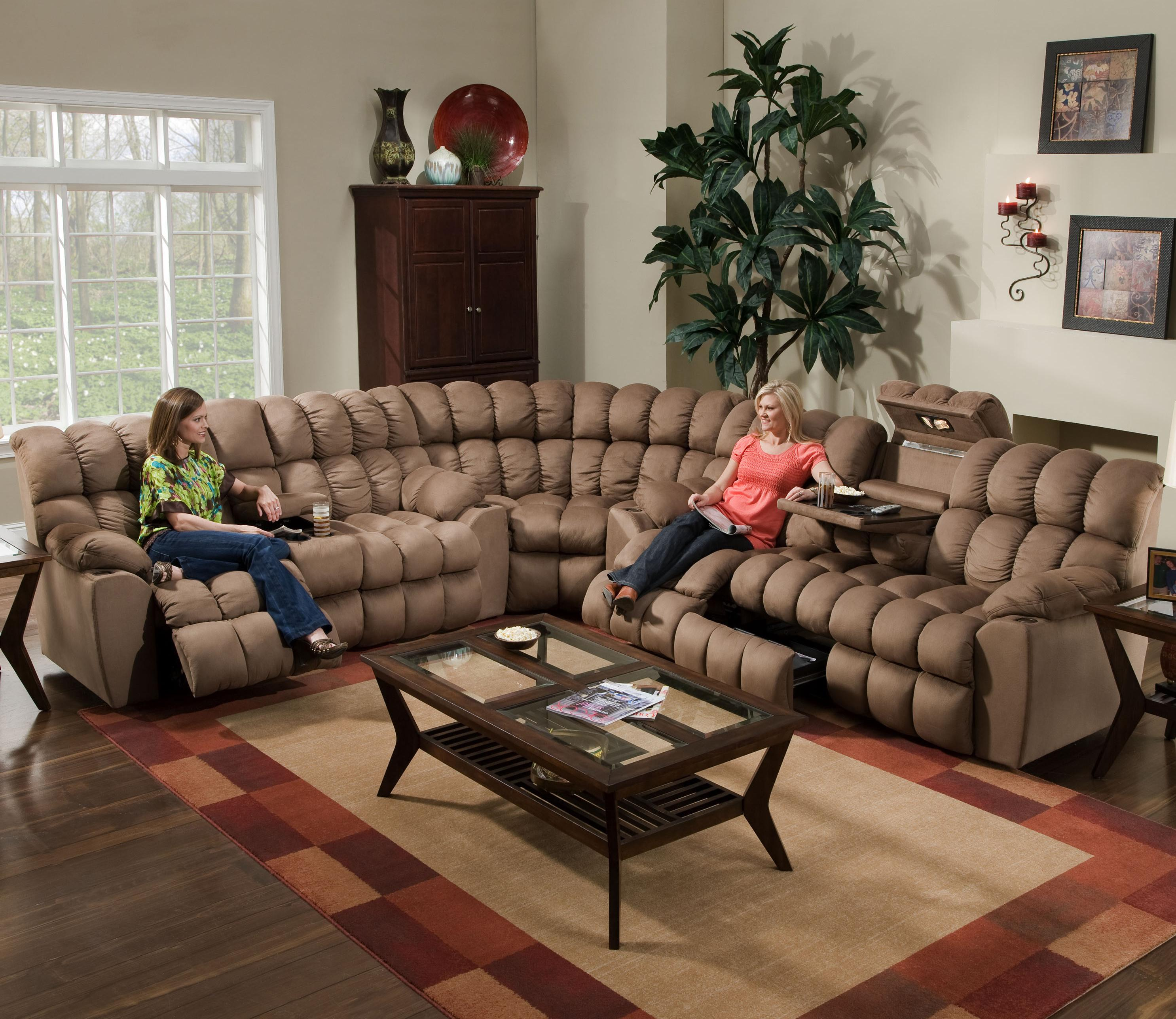 Perfect 542 Sectional With Reclining Sofa, Reclining Loveseat, Wedge, And Built In  Tables By Franklin