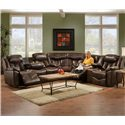 Franklin 564 Reclining Console Loveseat - 56434 8928-15 - Shown as Part of Sectional Sofa