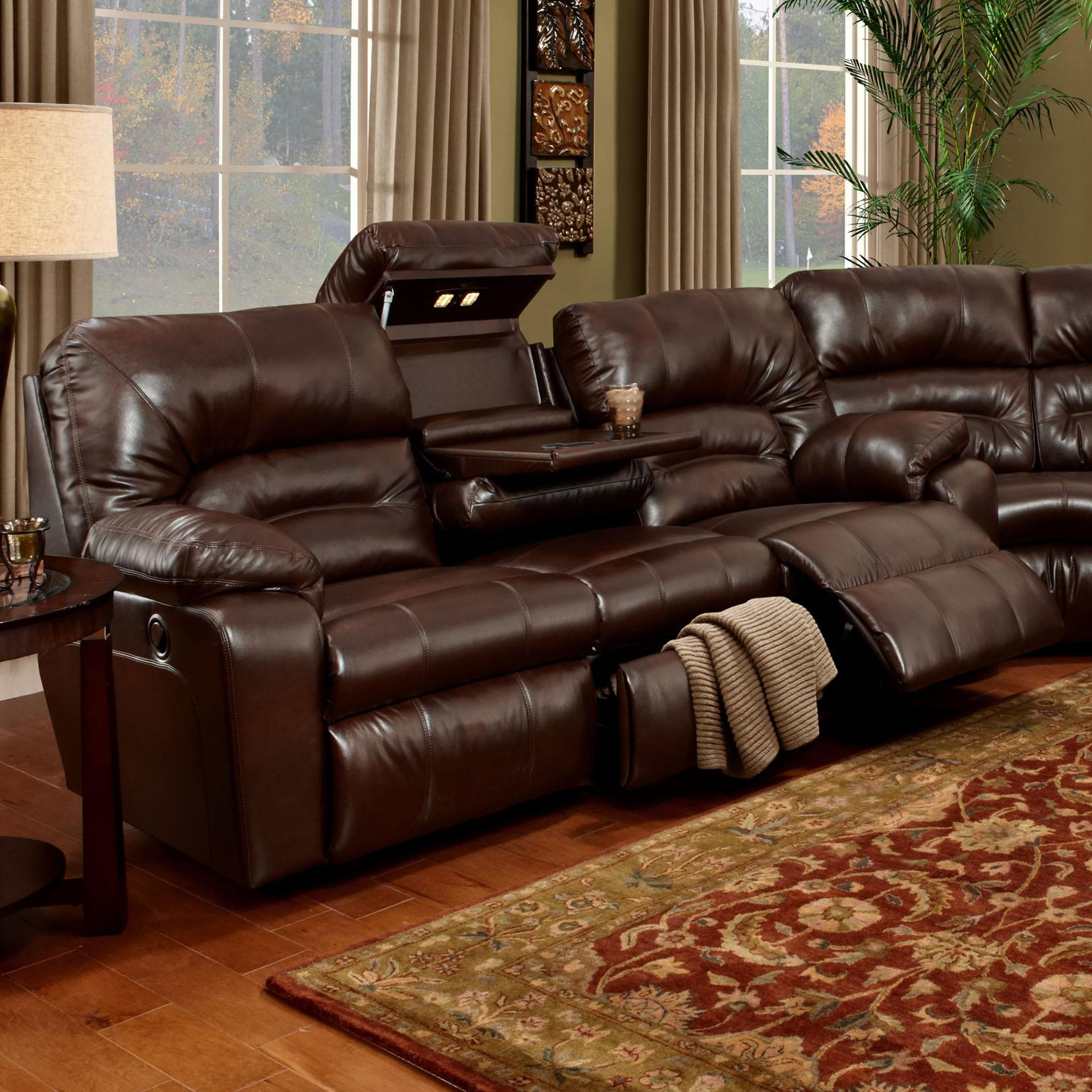Beau Franklin 596 Sofa With Lights, Drawer And Storage   Item Number: 59639 7113