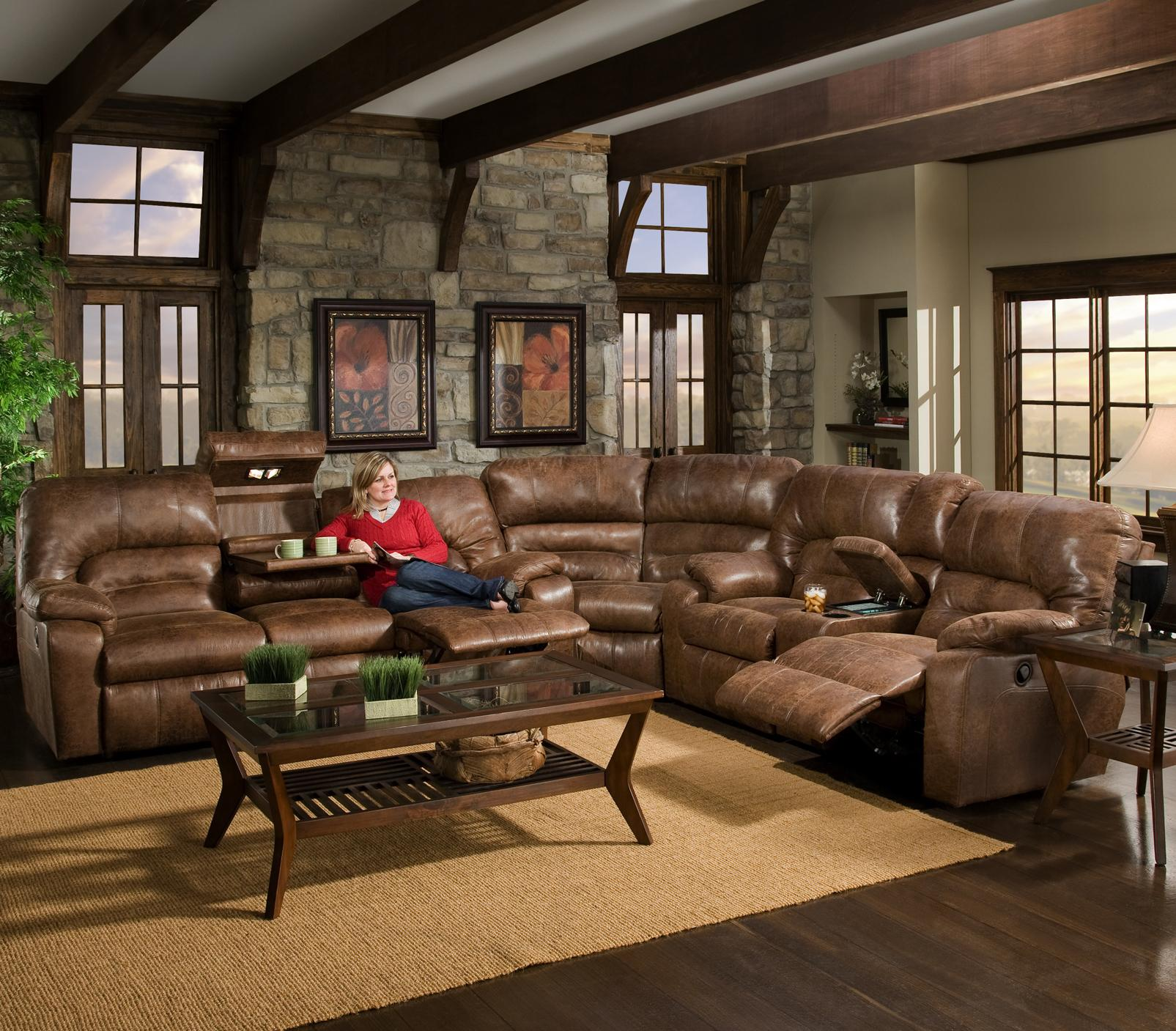 596 3 Piece Motion Sectional with Storage u0026 Lights by Franklin : motion sectional - Sectionals, Sofas & Couches
