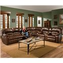 Franklin 596 Reclining Sofa with Table - 59644 LM 71-15 - Shown as Part of Sectional Sofa with Matching Wedge and Reclining Console Loveseat
