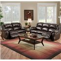 Franklin 691 Rocker Recliner Loveseat with Pillow Arms - 69123L - Pictured with Reclining Sofa