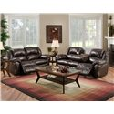 Franklin 691 92.5 Inch Reclining Sofa with Built-In Fold-Down Tray Table - 69144L - Shown with Reclining Loveseat