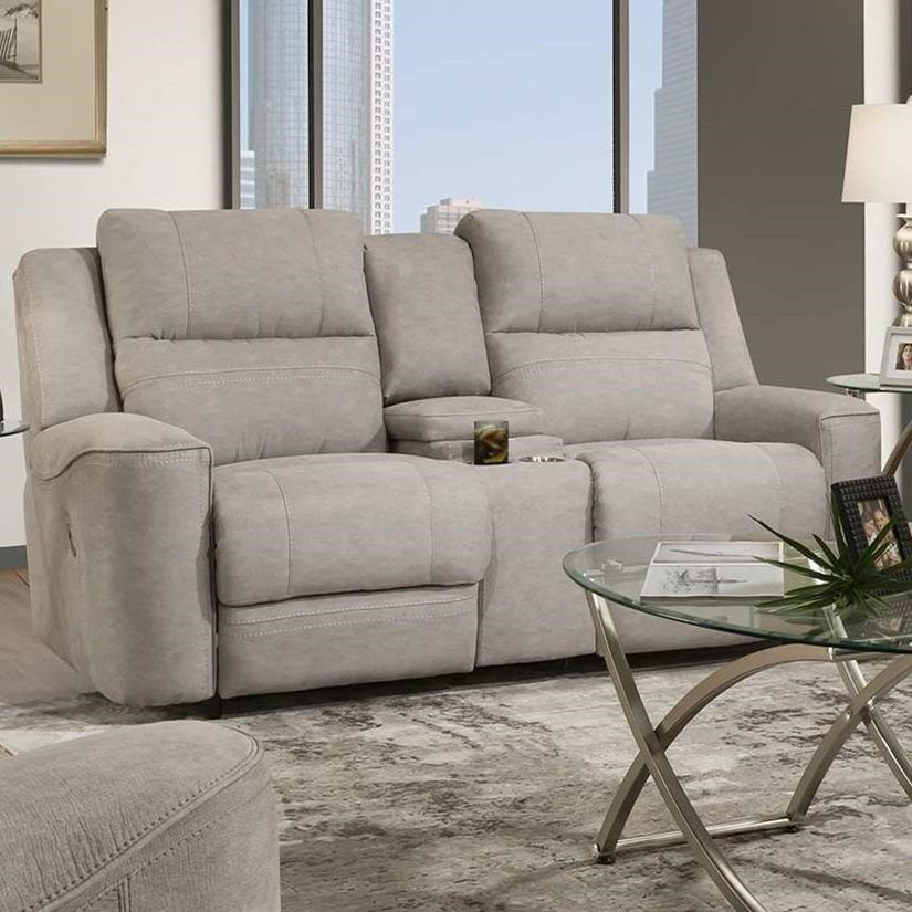 Dual Power Reclining Console Loveseat
