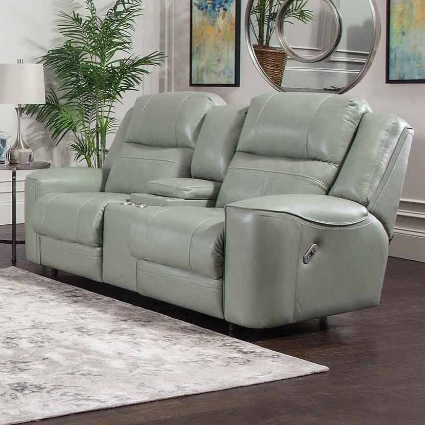 762 Dual Power Reclining Console Loveseat by Franklin at Wilcox Furniture