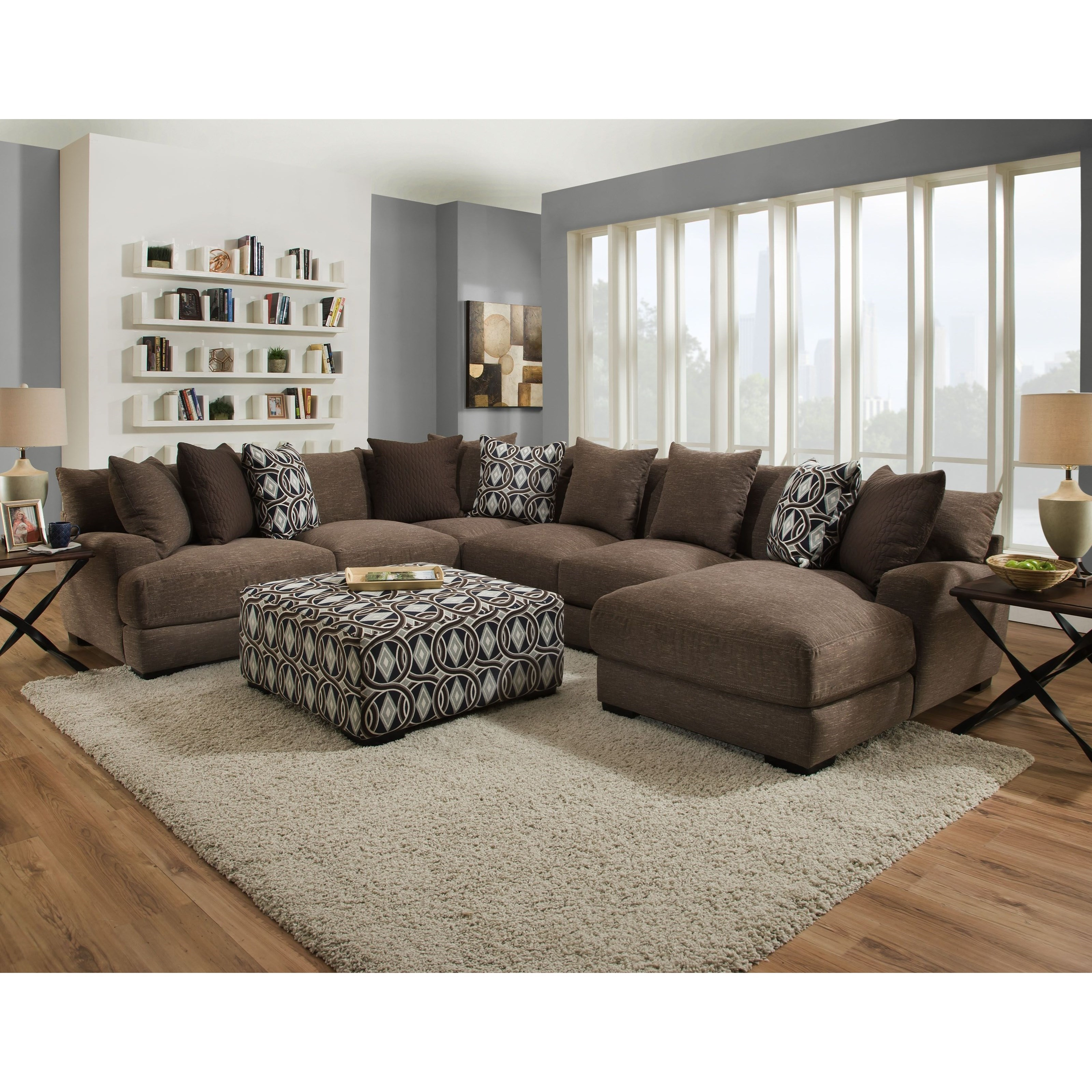 Cadet Sectional Sofa with 5 Seats and Chaise by Franklin at Howell Furniture