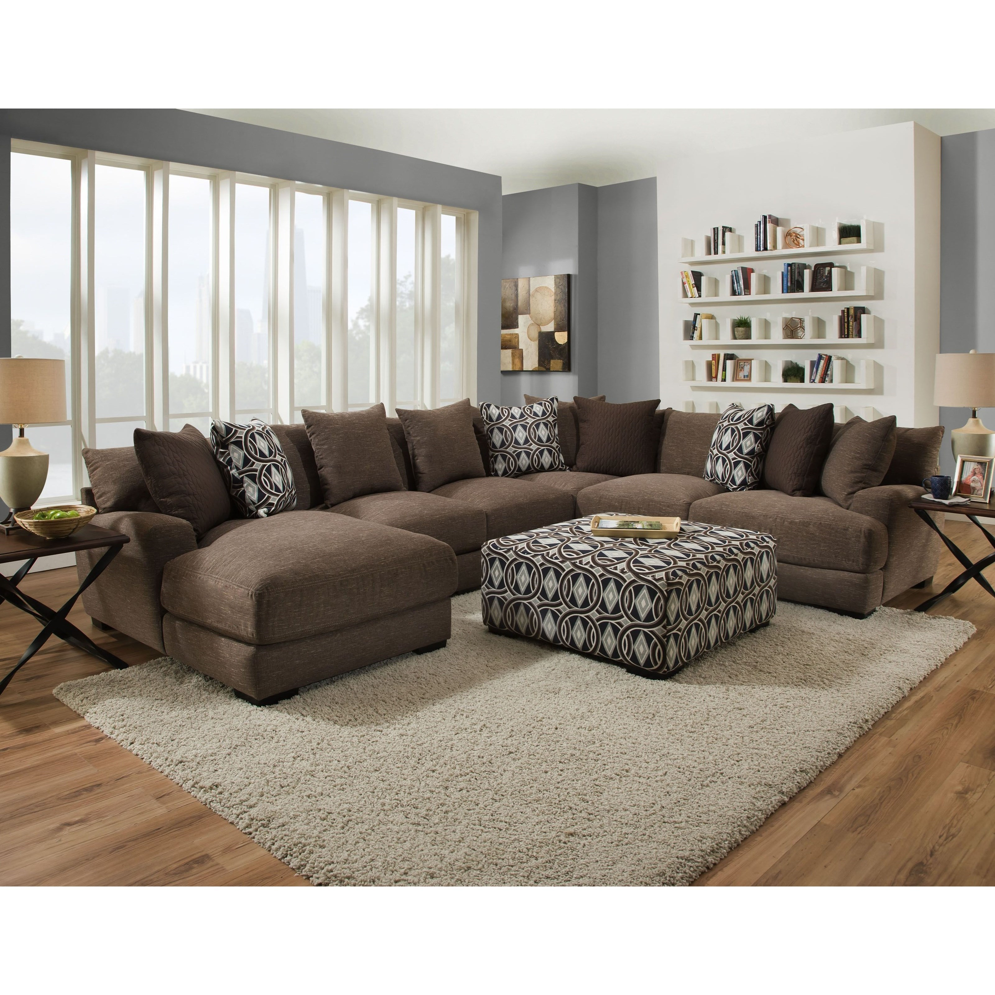 Five Seat Sectional with Left Facing Chaise
