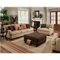 Franklin 809 Casual Stationary Sofa - 80940 8883-29 - Shown in Room Setting with Matching Chair and a Half