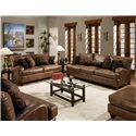 Franklin 809 Casual Stationary Sofa - 80940 8934-15 - Shown in Room Setting with Matching Loveseat