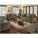 Franklin 811 Endura 3-Seat Stationary Sofa with Flared Arms - Shown with Matching Loveseat