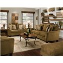 Franklin 811 Emily 3-Seat Stationary Sofa with Flared Arms - 81140 8926-15 - Shown with Matching Loveseat