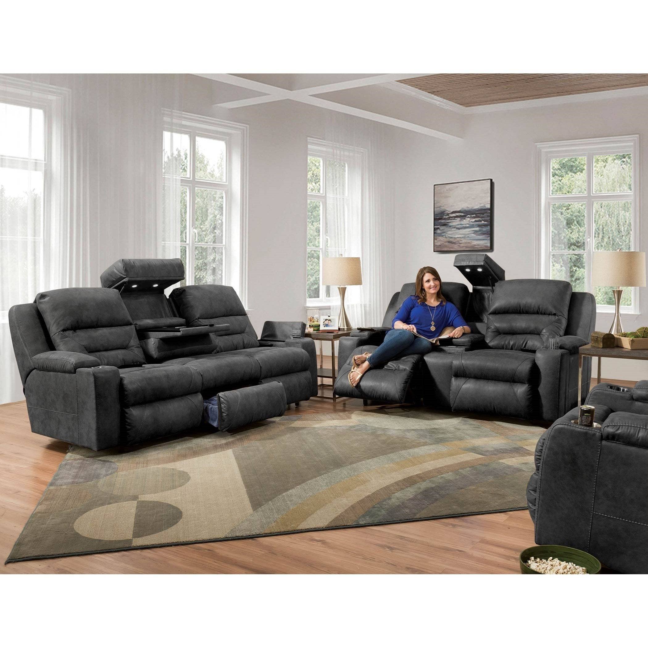 Power Reclining Sofa With Power Headrest Amp Lumbar With