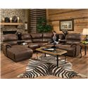 Franklin Empire Reclining Sectional Sofa with Right Chaise - Item Number: 48286+16+99+32 8323-14