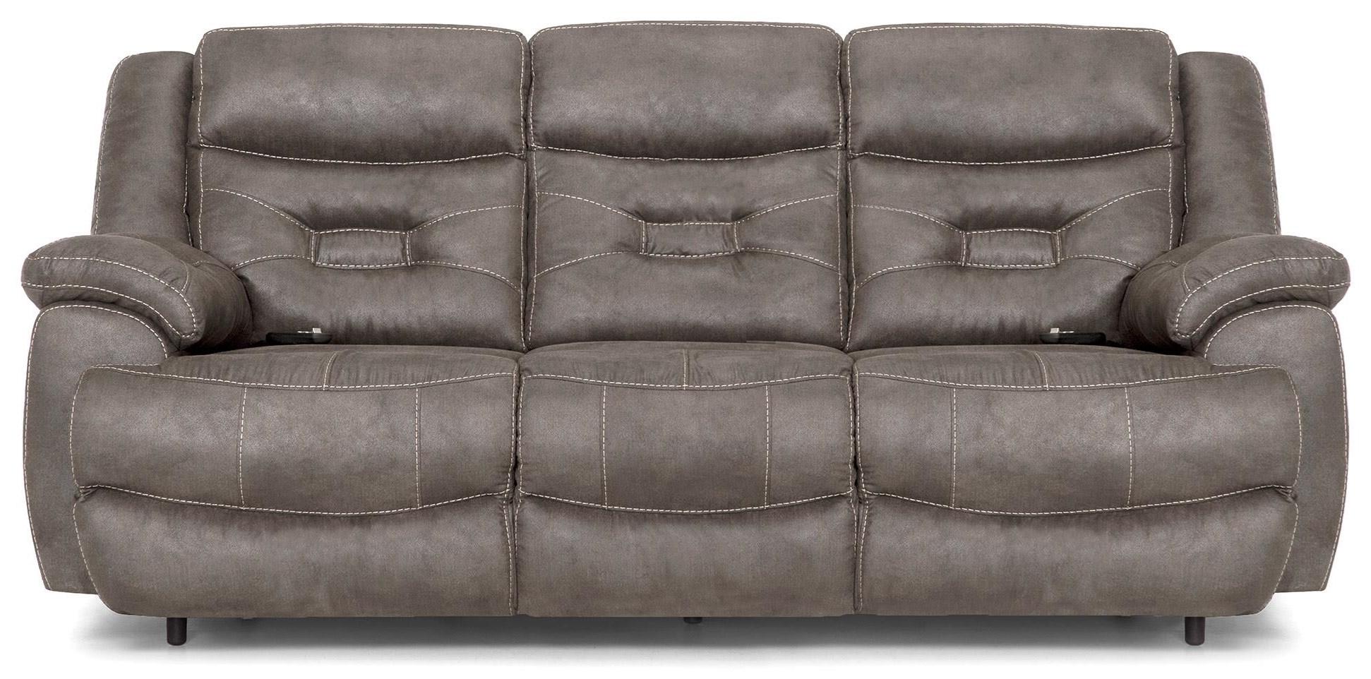 Grey Pwr Recl Sofa w/Pwr Head & Lumbar