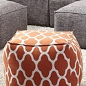 Franklin Freestyle Pouf Ottoman - Item Number: 78018-Orange-Geo-Pattern