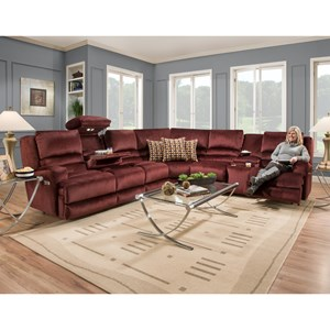 Six Seat Power Reclining Sectional