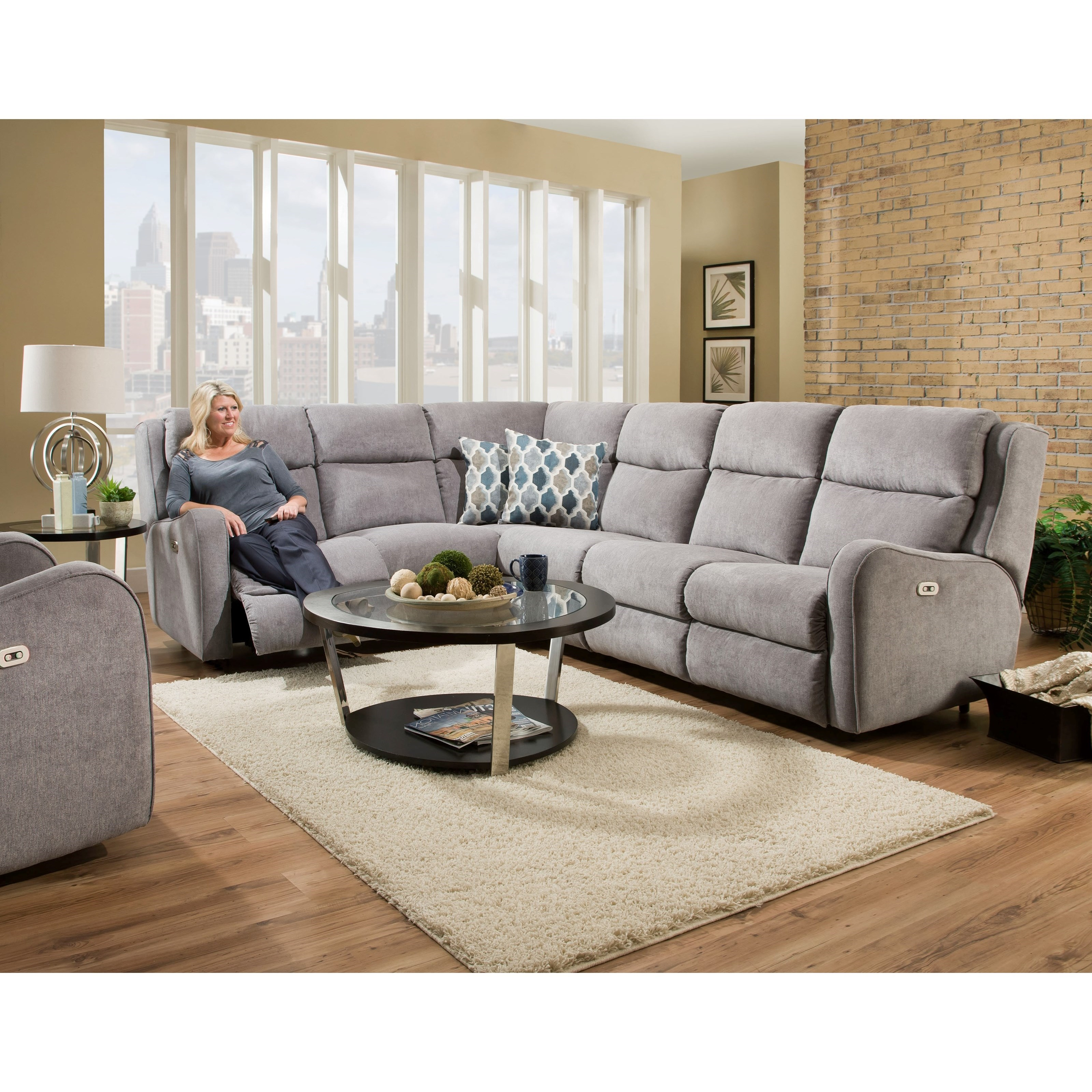 Franklin Theory Power Reclining Sectional Sofa With Usb Charging