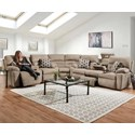 Franklin Tribute 6 Seat Power Reclining Sectional - Item Number: 79747+99+35-3795-25