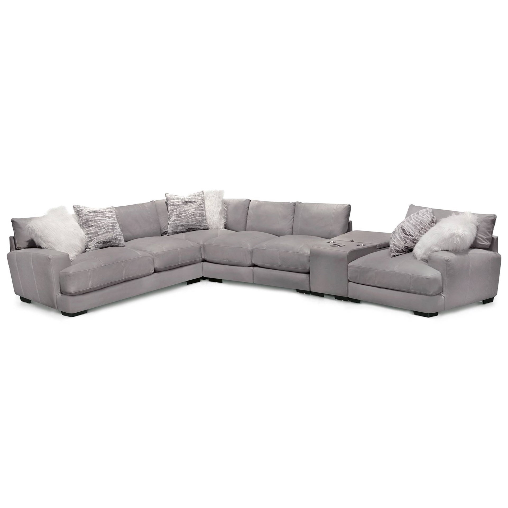 Franklin 909 L-Shaped Sectional Sofa with Storage Console ...