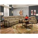 Franklin Wescott Double Reclining Sofa with Headrests - Shown as Modular Component in Sectional Sofa Configuration