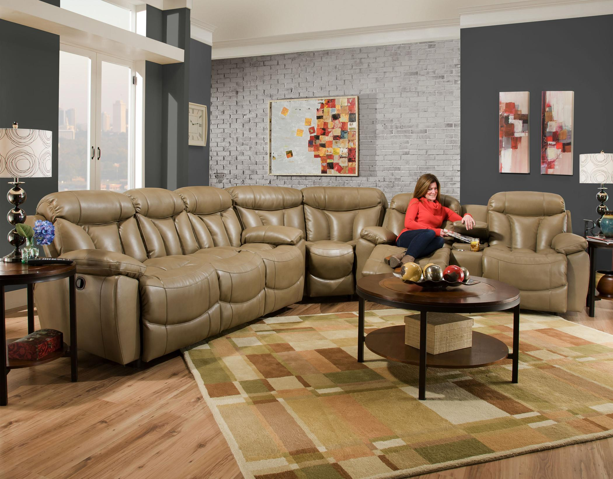 Franklin Wescott Reclining Sectional Sofa with Two Cup ...