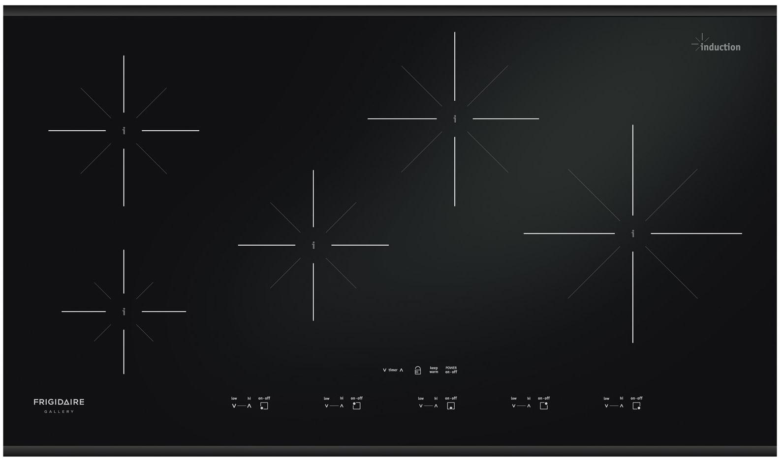 """Frigidaire Frigidaire Gallery Electric Cooktops 36"""" Built-In Induction Cooktop - Item Number: FGIC3667MB"""