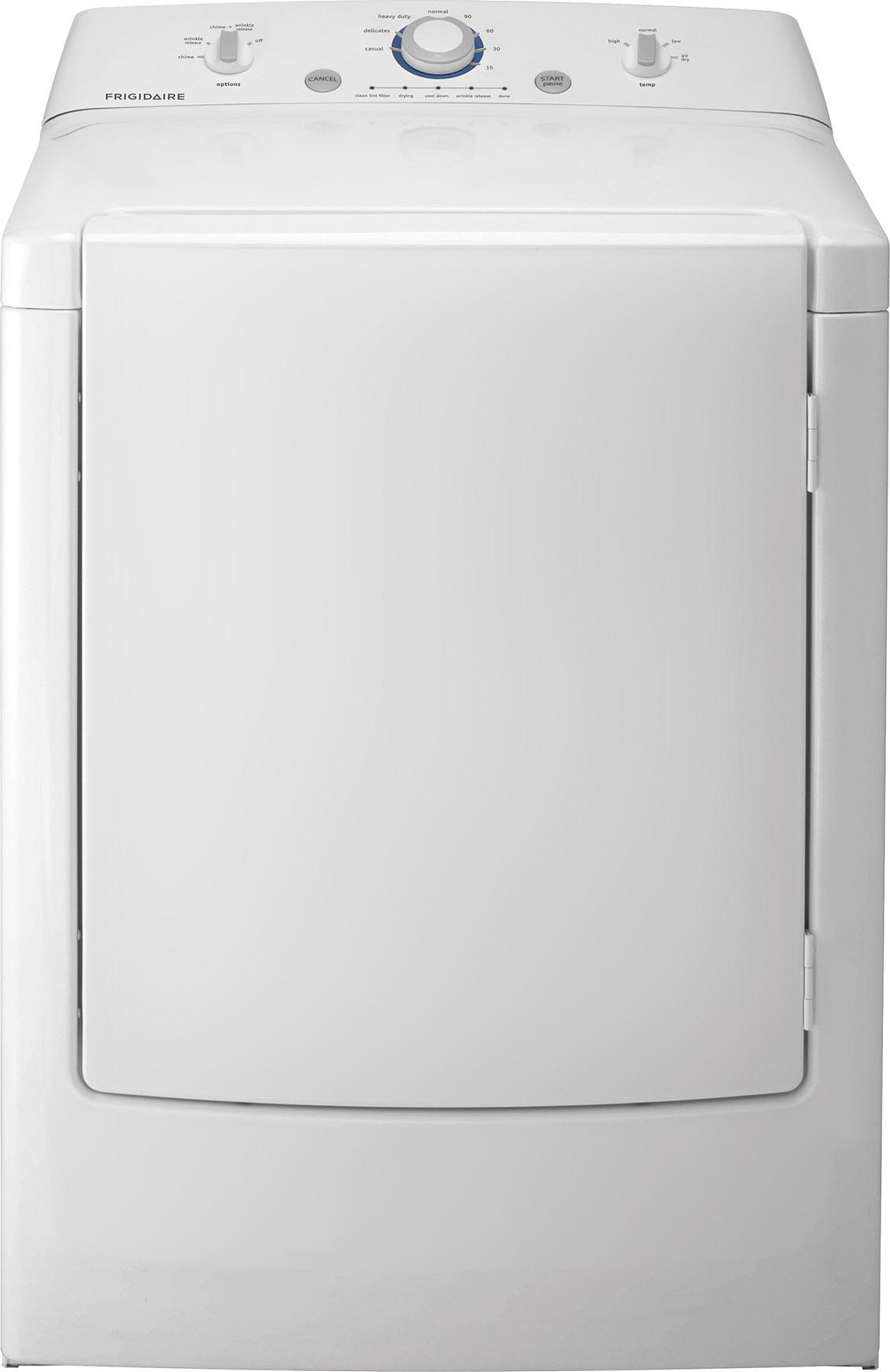 Frigidaire Electric Dryers Frigidaire 7.0 Cu. Ft. Electric Dryer - Item Number: FFRE1001PW