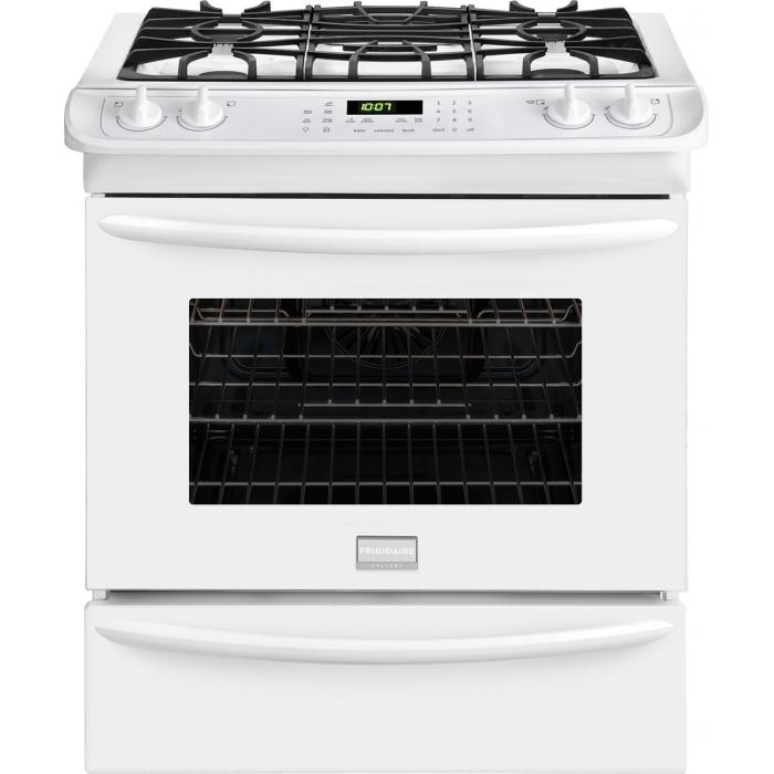 "Frigidaire Frigidaire Gallery Gas Ranges Gallery Premier 30"" Slide-In Gas Range - Item Number: FGGS3065PW"