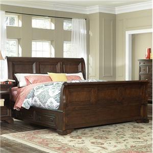 Furniture Brands Inc B6081 King Transitional Brown 4 Drawer Storage Sleigh Bed