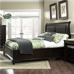 Furniture Brands Inc B7067 Queen Transitional Sleigh Bed With Leather Naihead Trim