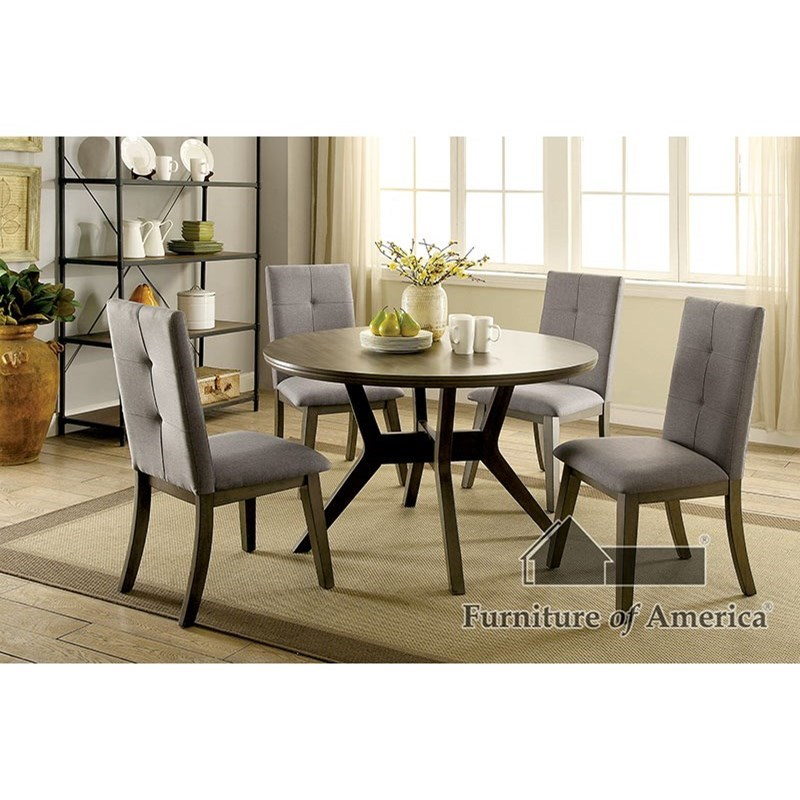 Furniture of America Abelone Table + 4 Chairs - Item Number: CM3354GY-RT-5PC