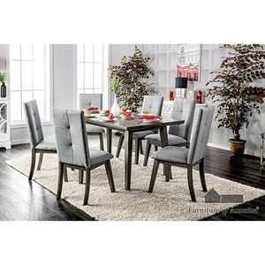 Furniture of America Abelone Table + 6 Chairs