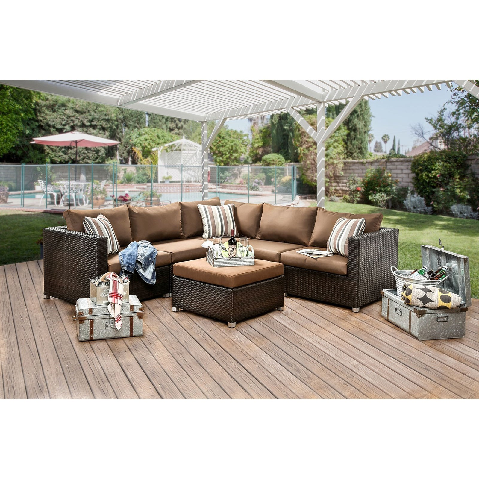 Furniture of America Abion Patio Sectional - Item Number: CM-OS1821BR-SET