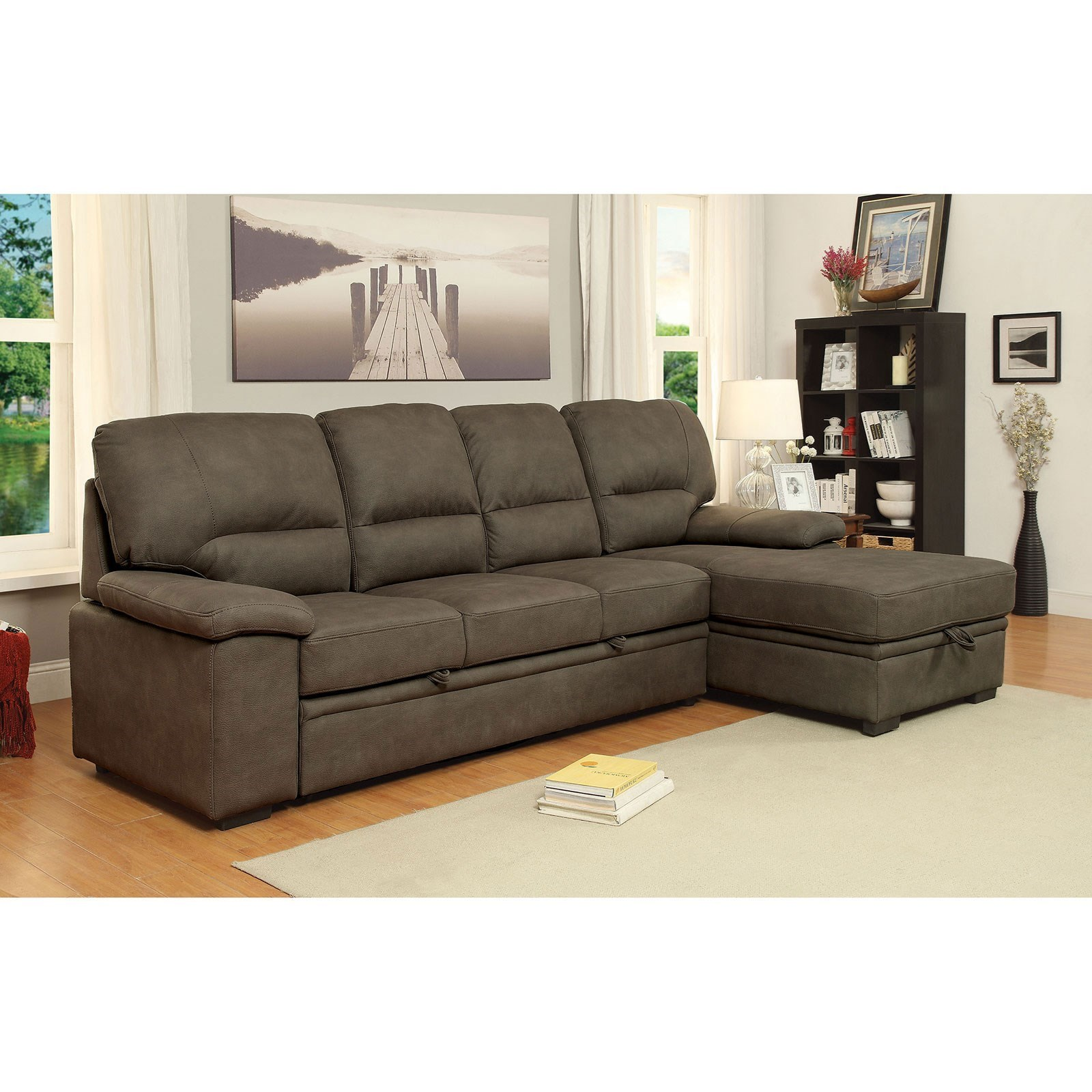 Furniture of America Alcester 4 Seat Sectional Sofa with Sleeper and ...