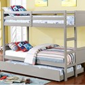 FUSA Annette Full over Full Bunk Bed - Item Number: CM-BK619F-GY-BED+TR452-GY
