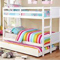 FUSA Annette Full over Full Bunk Bed - Item Number: CM-BK619F-WH-BED+TR452-WH