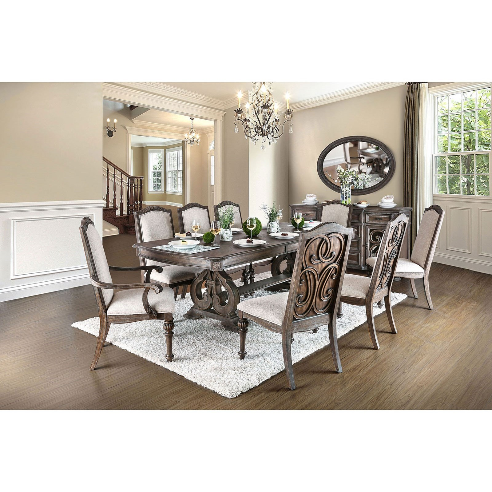 Arcadia Table + 2 Arm Chair + 6 Side Chairs at Household Furniture