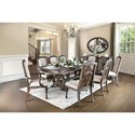 FUSA Arcadia Table + 2 Arm Chair + 6 Side Chairs - Item Number: CM3150T-9PC