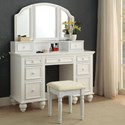 Furniture of America Athy Vanity w/ Stool - Item Number: CM-DK6848WH
