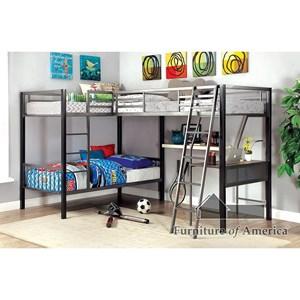 L-Shaped Triple Twin Bunk Bed w/ Desk