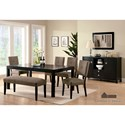 Furniture of America Bay Side I Table + 4 Side Chairs + Bench - Item Number: CM3311T-6PC-BENCH