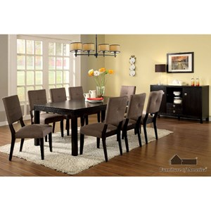 Furniture of America Bay Side I Table + 8 Side Chairs